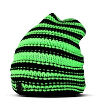 Extended beanie with metal S - Neon