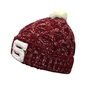 Burgundy and white beanie with pompom - adult size
