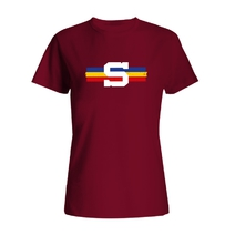 Women´s T-shirt with a tricolor stripe - burgundy