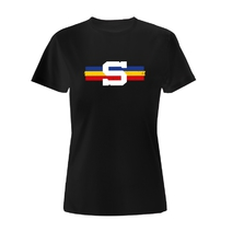 Women´s T-shirt with a tricolor stripe black