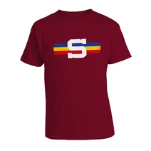 Children's T-shirt with a  tricolor stripe - burgundy