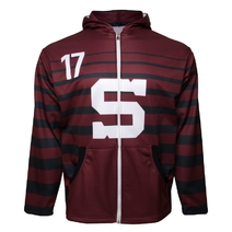 SALE Jersey style hoodie zipped 16/17 burgundy