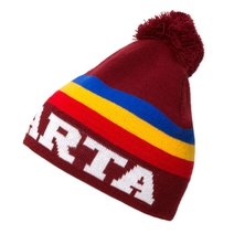 Kid´s beanie with tricolor and pompon Sparta - burgundy