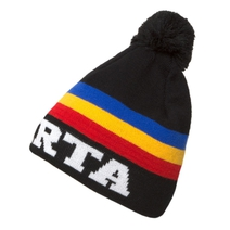 Kid´s beanie with tricolor and pompon Sparta - black