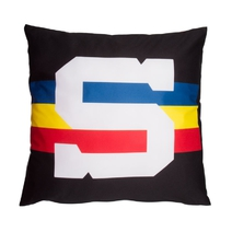 "Pillow black-burgundy with ""S"" logo"