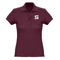 Ladies polo shirt Sparta logo embroidery burgundy