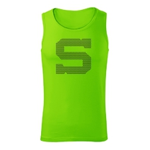 Men's sports neon green top with print in jerseys style S.