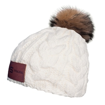 Women´s beanie with pom pom and a leather label Sparta