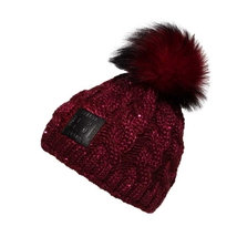 Burgundy beanie for ladies with fur pom and leather patch HC Sparta
