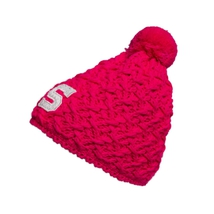 Knitted pink beanie for ladies with white Sparta logo