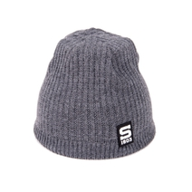 Beanie thin basic gray with silicone label