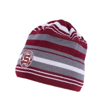 Adult beanie with grey strips and stitched logo HCS