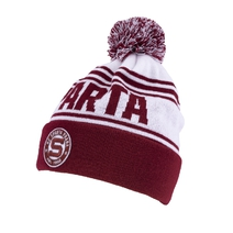 Beanie for adult white with the red fold and rounded stitched logo