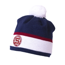Beanie for kids navy with white strip and rounded stitched logo HCS