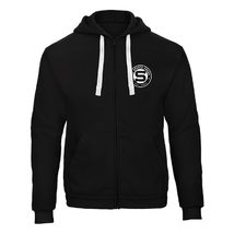 Men's hoodie black with the rounded stitched logo