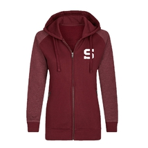 Women's hoodie melange sleeves stitched logo burgundy