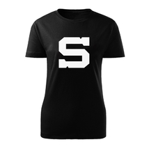 Ladie's t-shirt black icon big white S aplication Sparta