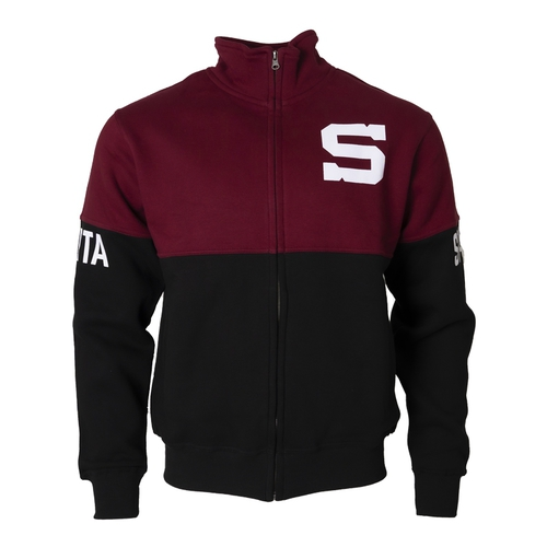 Hoodie black-burgundy with S and inscription on the sleeve