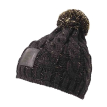 Beanie for ladies black with gold and with cuir patches