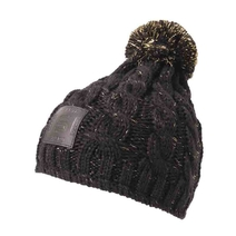 Beanie for ladies black melange with cuir patches
