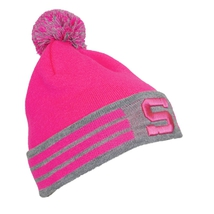 Beanie for ladies pink - grey with logo HCS