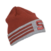 Beanie for adults brugundy grey with strips HCS