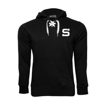 Hoodie for kids black laces with logo S on heart Sparta