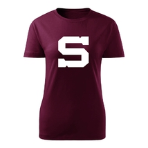 Ladie's t-shirt burgundy icon big white S aplication Sparta