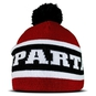 Beanie with pompom - Black and burgundy