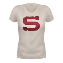 Women's T-shirt with textile embroidery S logo - beige